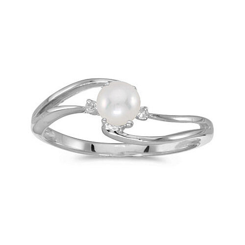 10k White gold Cultured Freshwater Pearl & Diamond Wave Ring (CM-RM2589W-06)