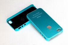 Black Aluminum Plastic Chrome Hard Cover Case for iPhone 4 4S w/ Protective Film