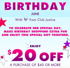 Justice Coupon Code 20 Off 40 Purchase Exp 9 30 2020 Instant Delivery Ebay