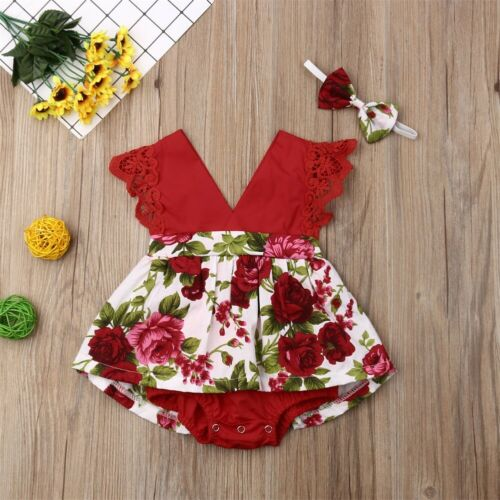 Infant Newborn Baby Girl Lace Romper Jumpsuit Bodysuit Clothes Headband Outfits