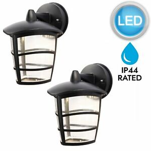 Pair-of-Modern-Black-LED-Outdoor-IP44-Rated-Porch-Garden-Wall-Light-Lanterns