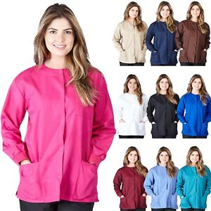 Medical-Nursing-NATURAL-UNIFORMS-Warm-Up-Top-Scrubs-Jackets-Lab-Coats-for-Women