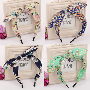 Lovely-4PCS-Wide-Ribbon-Bowknot-Headband-Hairband-Wire-Bendy-Bow-Rabbit-Bunny