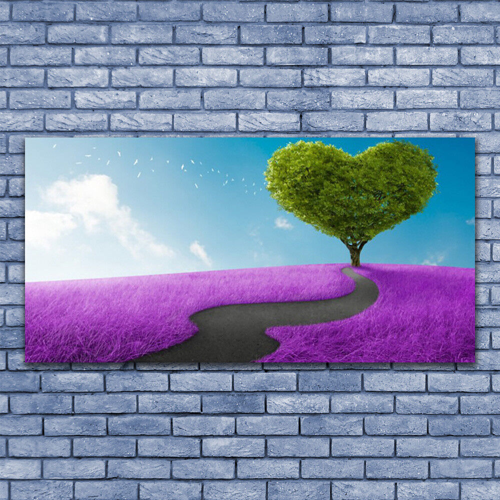 Print on Glass Wall art 140x70 Picture Image Image Image Meadow Footpath Tree Nature f9fb50