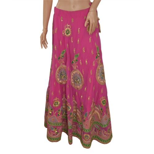 Sanskriti Vintage Long Skirt American Georgette Pi
