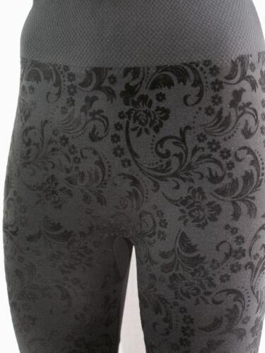Leggings barockes Muster schwarz Big Size one Size high waist warm hoher Bund