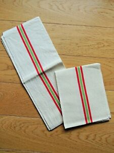 Antique 2 French tea Towels Linen Metis VINTAGE Red stripe Country kitchen