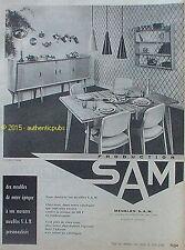 PUBLICITE MEUBLES SAM CUISINE SALLE A MANGER TABLE DE 1960 FRENCH AD PUB VINTAGE
