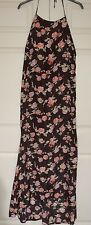 **New 10 Missguided Misguided Rose Floral Maxi silky-satin Backless Halter Dress