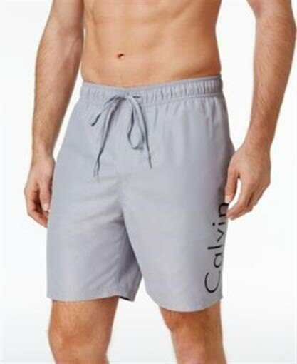 d0df3ca288 Calvin Klein Mens Solid Logo Volley Concrete Grey Swim Shorts Trunk  CB7V6049 2xl for sale online | eBay