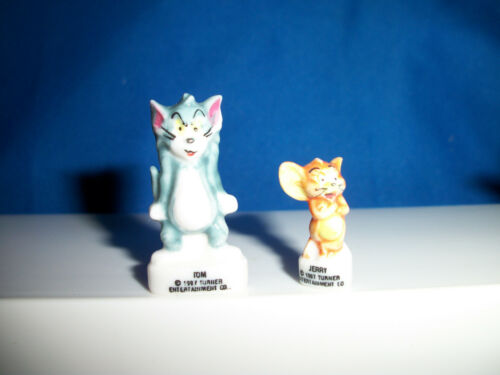 TOM /& JERRY SET of 14 Miniature Figurines FRENCH PORCELAIN FEVES Tiny Figures