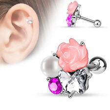 CZ Pearl Fimo Flower Surgical Steel Helix Tragus Cartilage Barbell Stud Earring