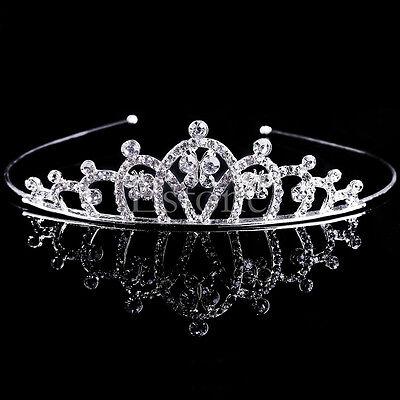 Wedding Bridal Princess Crystal Rhinestone Hair Crown Tiara Veil Prom Headband