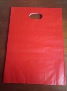 BUSTE BUSTINE REGALO ROSSE DI NATALE PLASTICA  CHRISTMAS BAG SHOPPERS 20x25 cm