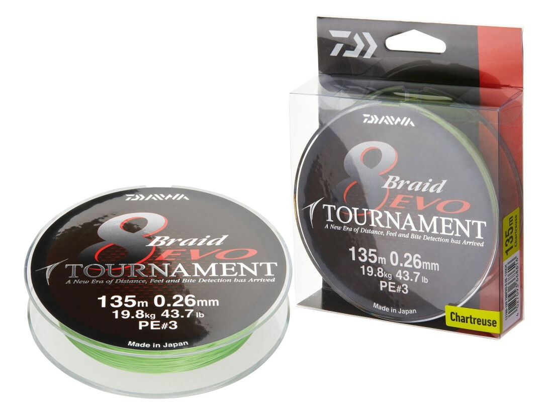 Daiwa Tournament 8 Braid Evo / 300m / Chartreuse / PE braided line