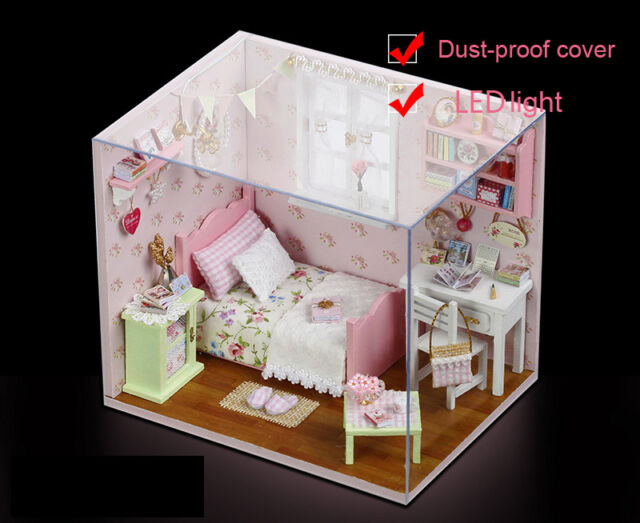 New Dollhouse Miniature DIY Kit with Cover Wood Toy Dolls House Gift Sun Angel