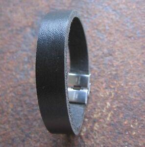 Vollleder-Leder-Armband-Herren-Maennerarmband-schwarz-Lederarmband-neu-Edelstahl