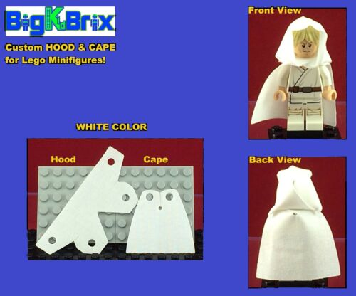 WHITE Custom made for LEGO Minifigures PRICE gets you 2 SETS #3 HOOD /& CAPE