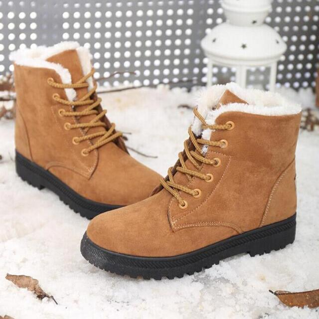 Womens Winter Warm Casual Faux Suede Fur Lace up Ankle BOOTS Snow BOOTS Shoes Kahki 5
