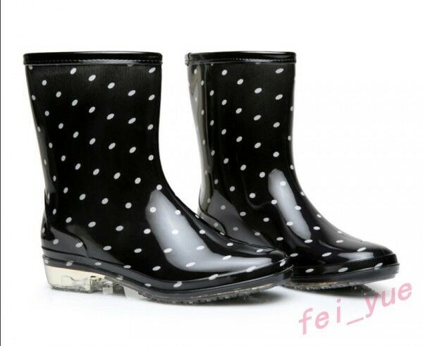 Womens Fashion Polka Dot Pattern Waterproof Mid Calf Boots Boots Boots Clear Heel Rain Boots 9abef2