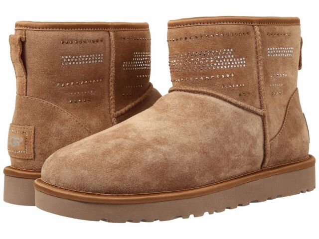 NEW UGG Classic Mini SERAPE Bling Crystal Boots Chestnut Brown 10 EU 41 $295