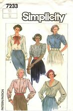 simplicity 7233 Misses Blouse 1980s Pattern Size 14