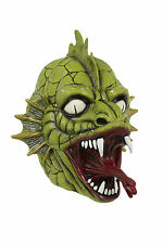 GREEN DRAGON MASK FISH MONSTER LATEX HALLOWEEN SCARY OVERHEAD MASK ACCESSORY