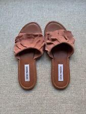496967a4d00 Steve Madden Getdown Suede Ruffle Slide Sandals Women's Size 8 Blue ...