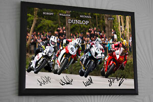 JOEY-ROBERT-WILLIAM-MICHAEL-DUNLOP-UNIQUE-FRAMED-CANVAS-SIGNED-TT-LEGENDS-A3-A4