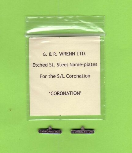 WRENN Etched model railway Name Plates CORONATION  for Streamlined Loco