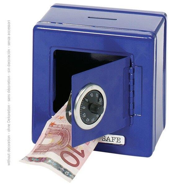 METALLTRESOR blau Safe Tresor Spardose Geldkassette Kinderspardose Kindertresor