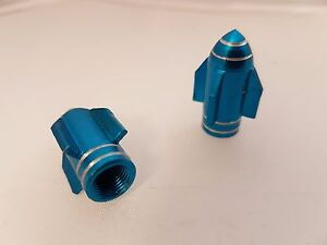 POSH-Bicycle-Motorbike-Car-Tyre-valve-caps-Blue-Rocket-2pkt