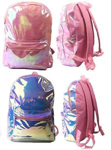 Plata-o-Rosa-Holografico-Chicas-Mochila-Bolso-Escolar-Mochila-iridiscente-brillante