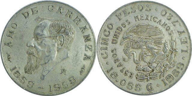1959 Mexico Birth Of Carranza Silver 5 Pesos KM# 471 Circulated