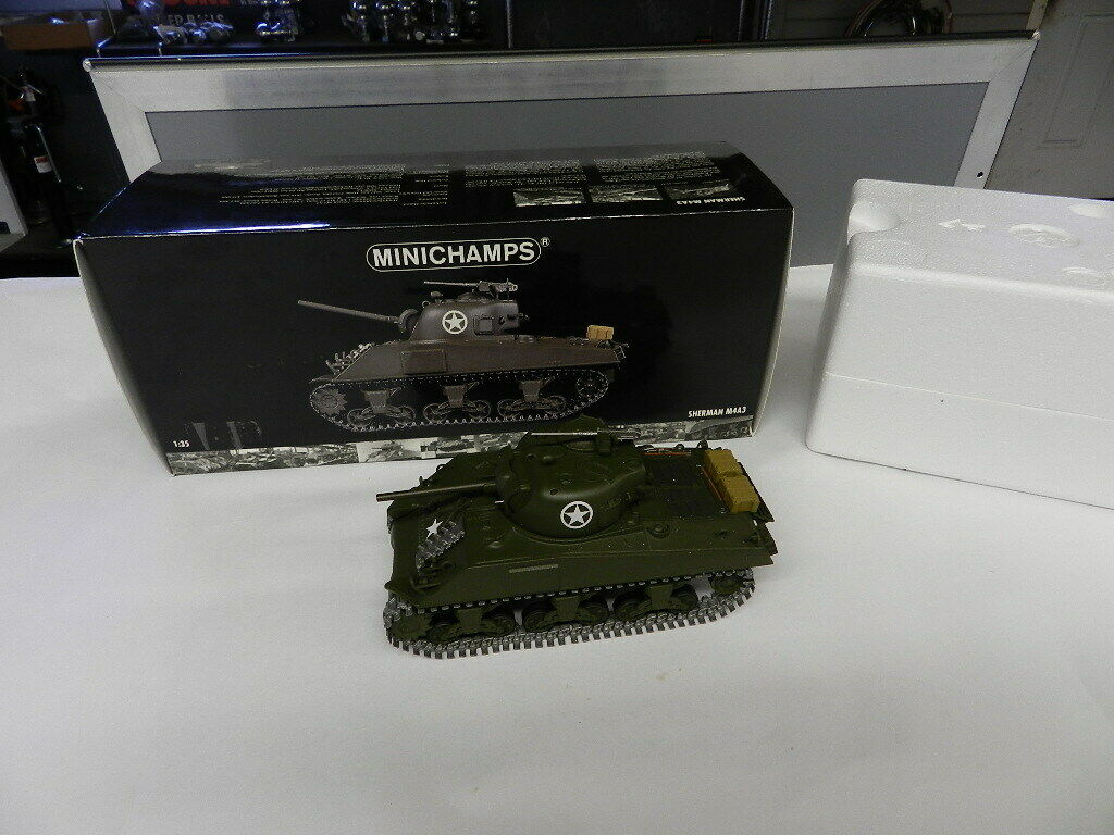 MINICHAMPS TANK- SHERMAN M4A3 WORLD WAR II II TANK-NOS W  BOX-VINTAGE DIECAST TANK