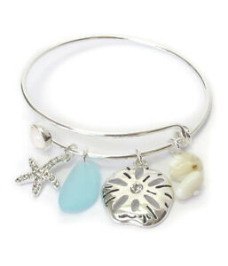 Sea-Life-Sand-Dollar-Starfish-Charm-Wire-Bangle-Bracelet-Silver-Toned
