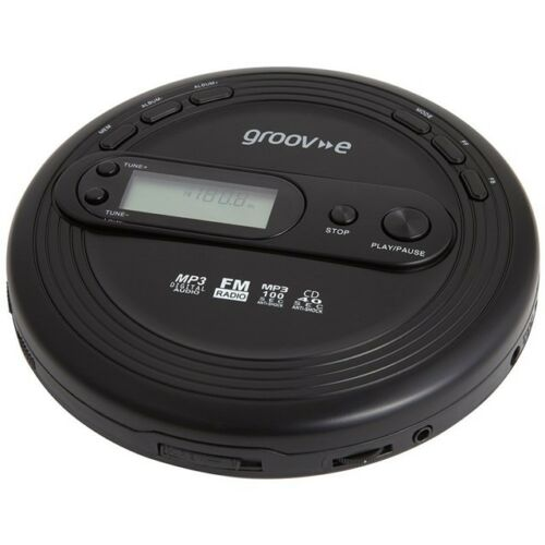 Groove Retro Personal CD Player with FM Radio MP3 Playback Black Discman