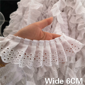 6cm Wide White 3D Cotton Folded Lace Embroidered Collar Applique Ruffle Trim