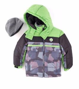 25175f5f6d31 LONDON FOG® Boy  039 s L(14-16) Colorblock Puffer Jacket w  Hat NWT  85