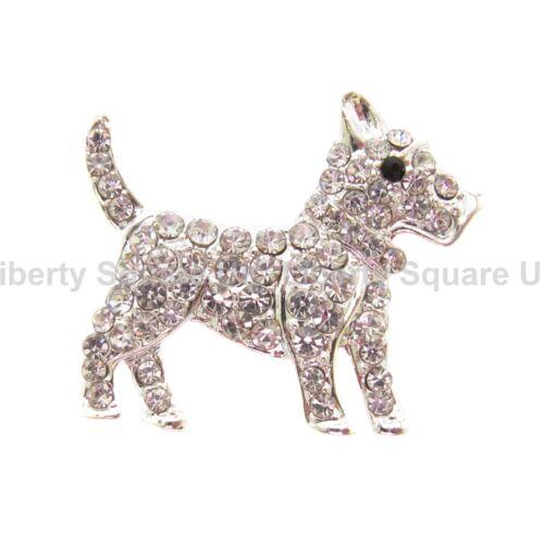 Highland Terrier brooch//scotty Dog # 303 Plata Cristal Scottish Terrier Broche