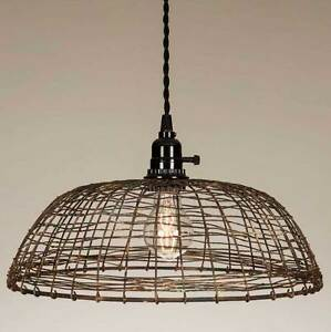 Primitive new round woven wire rusty hang light / plug in light