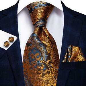 Gold-Blue-Brown-Yellow-Paisley-Mens-Tie-Necktie-Silk-Set-Wedding-Business-Dinner