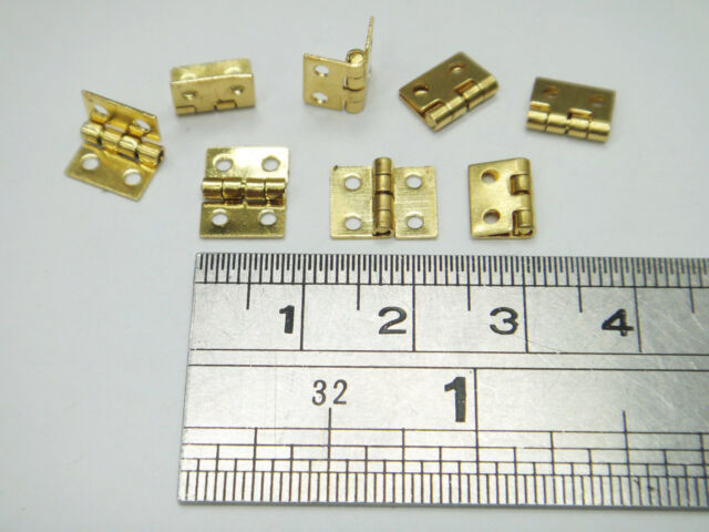 "8x Super Miniature Brass Hinge 0.3""x0.4"" / 8mmx10.5mm with nails mini door hinge"