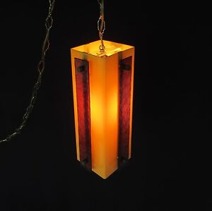 Vintage Mid Century Modern Lucite Or Plexiglass Swag Lamp