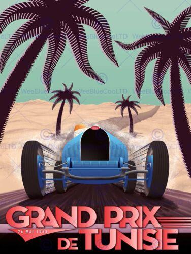 SPORT ADVERT MOTOR RACING GRAND PRIX 1933 TUNISIA POSTER ART PRINT BB12674B