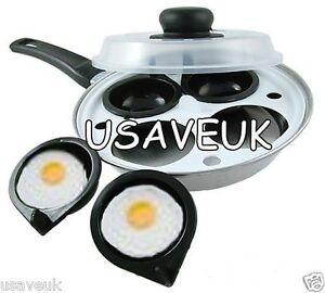 3 Trous Egg Braconnier avec clair Couvercle Poaching Pan Poché