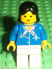 LEGO Minifigure - AIR010 - AIRPORT - Blue with Scarf, Black Female Hair