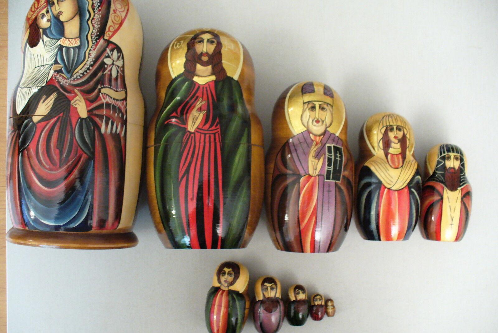 TRÈS RARE POUPÉES RUSSE RELIGIEUSE  10 EMBOÎTÉE - NEUF (peinte main et signé)