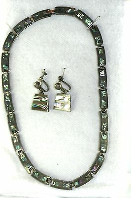 VTG MEXICAN TAXCO MEXICO EMMA STERLING SILVER 15 INCH CHOKER NECKLACE & EARRINGS