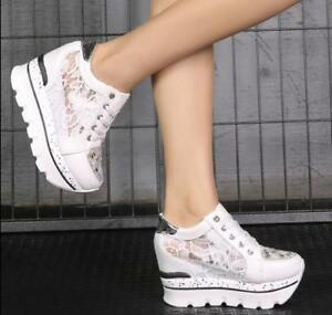 Women's Lace Rhinestone Hollow Platform Sneakers Summer Wedge Hidden Heel Shoes